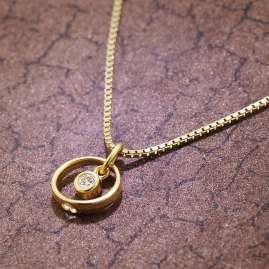 trendor 51098 Kinder Taufring-Anhänger Gold 333 mit Vergoldeter Silberkette