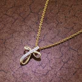 trendor 51118 Damen Kreuz-Anhänger 333 Gold mit goldplattierter Silberkette