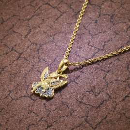 trendor 51138 Anhänger Engel 333 / 8K Gold + vergoldete Silberkette für Kinder