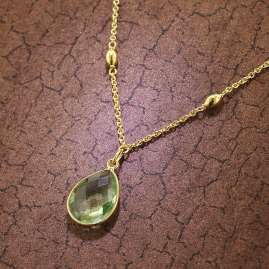 trendor 51177 Women's Necklace Gold Plated Silver 925 with Light Green Quartz