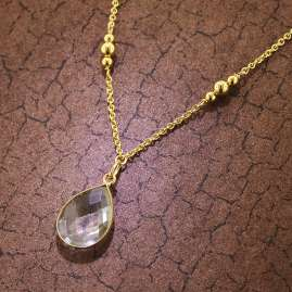 trendor 51179 Women's Necklace Gold Plated Silver 925 with Bevelled Quartz