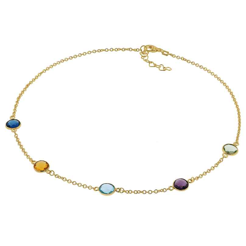 trendor 51184 Damen-Halskette Gold auf Silber 925 Kette mit Bunten Quarzen 4260727511845