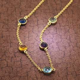 trendor 51184 Damen-Halskette Gold auf Silber 925 Kette mit Bunten Quarzen