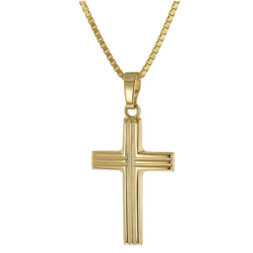 trendor 51203 Kreuz-Anhänger Gold 333 / 8K mit goldplattierter Silberkette 4260727512033