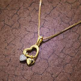 trendor 51317 Heart Pendant Necklace Gold Plated Silver 925 Two-Colour