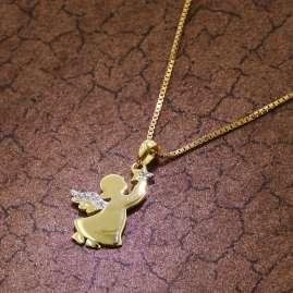 trendor 51372 Engel Anhänger Gold 333 / 8K + goldplattierte Silberkette