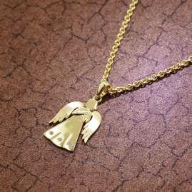 trendor 51380 Schutzengel Gold 333 Anhänger an Goldplattierter Silberkette