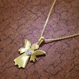 trendor 51376 Anhänger Schutzengel Gold 333 / 8K + Goldplattierte Silberkette