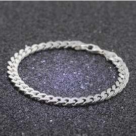 trendor 85864 Armband für Männer 925 Silber Massiv Panzerkette Breite 6,9 mm