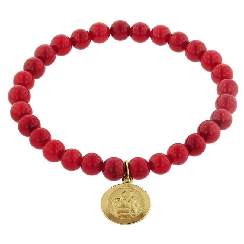 trendor 75517 Armband für Mädchen Bambuskoralle Rot mit Engel Gold 333 4260641755172