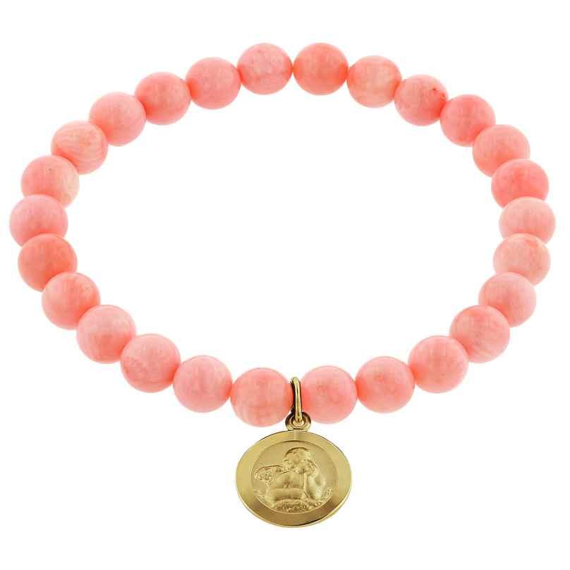 trendor 75518 Mädchen-Armband Bambuskoralle Rosé mit Engel Gold 333 4260641755189