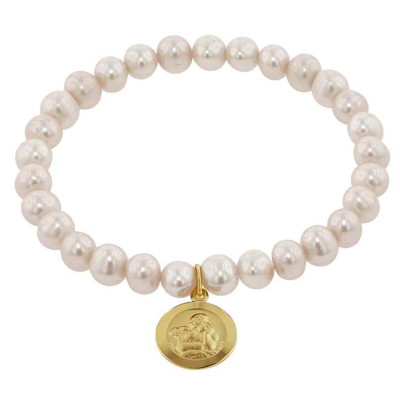trendor 75520 Mädchen-Armband Süßwasser-Zuchtperlen mit Engel Gold 333 4260641755202
