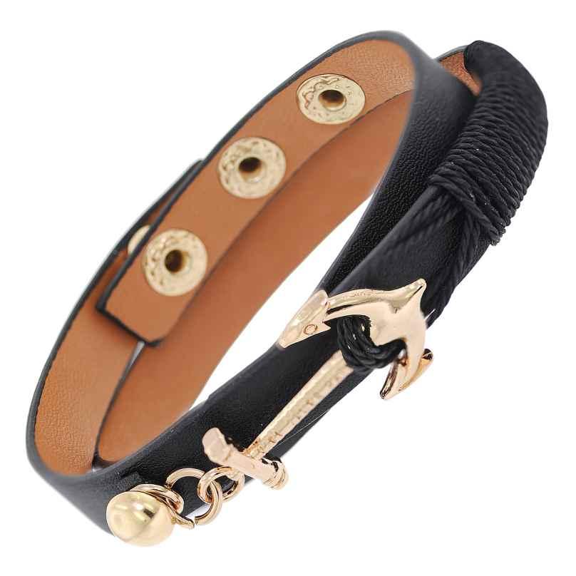 trendor 75803 Leder-Armband Anker Schwarz 4260641758036