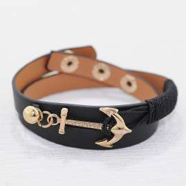 trendor 75803 Leather Bracelet Anchor Black
