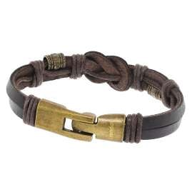 trendor 75806 Leather Bracelet for Women and Men Brown