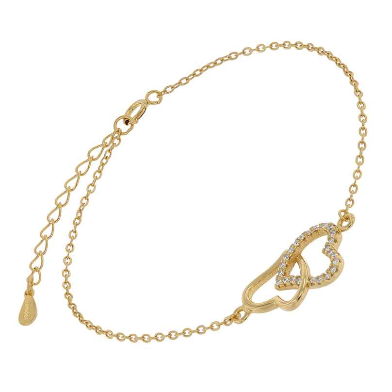 trendor 75849 Armband für Damen Gold auf Silber Herzen Zirkonias 4260641758494