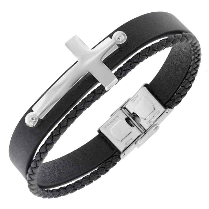 trendor 75875 Herren-Armband Leder Schwarz Stahl Kreuz 4260641758753