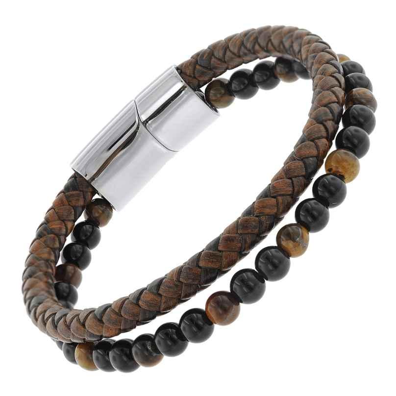 trendor 75877 Men's Bracelet Brown Leather / Onyx / Tiger Eye 4260641758777