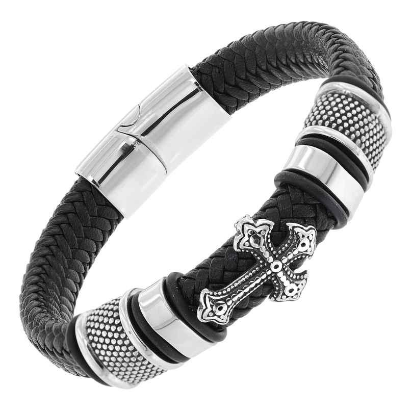 trendor 75878 Leather Bracelet for Men Black with Steel Cross 4260641758784
