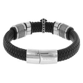 trendor 75878 Leather Bracelet for Men Black with Steel Cross