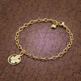 trendor 51199 Kinder-Armband mit Kleeblatt 925 Silber Goldplattiert 18 cm