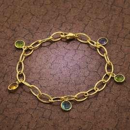 trendor 51186 Armband für Damen Gold auf Silber 925 mit Bunten Quarzen