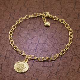 trendor 51202 Armband mit Engel-Anhänger 925 Silber Goldplattiert 17 cm
