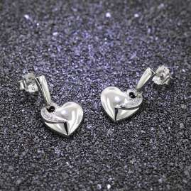 trendor 66295 Silver Heart Earrings