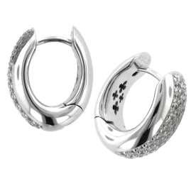 trendor 64789 Silver Hoop Earrings with Cubic Zirconia