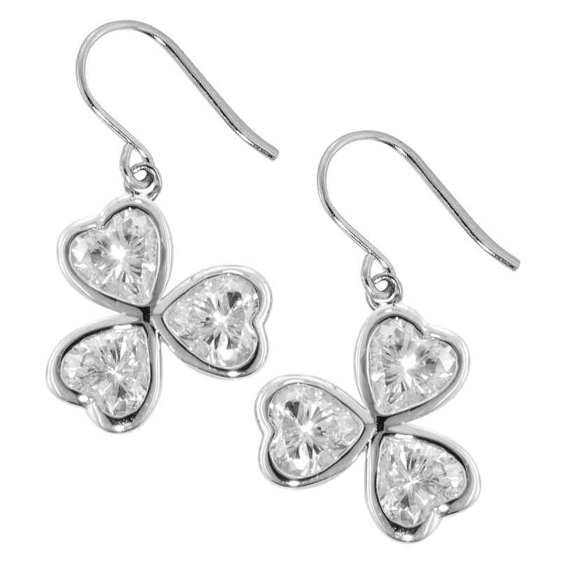 trendor 69890 Silber Damen-Ohrringe Herzchen Ohrhänger mit Zirkonia 4260227769890