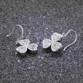 trendor 69890 Silber Damen-Ohrringe Herzchen Ohrhänger mit Zirkonia