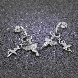 trendor 69968 Silber Damen-Ohrringe Elfe und Ballerina mit Zirkonia