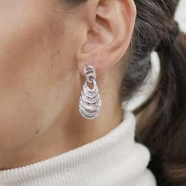 trendor 80722 Silver Drop Earrings with Cubic Zirconia