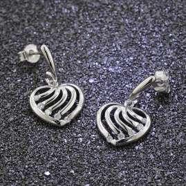 trendor 81354 Silber Herz-Ohrringe mit Zirkonia