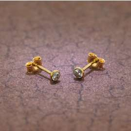 trendor 86304 Stud Earrings Men And Women 333 Gold Cubic Zirconia 3.5 mm