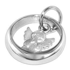 trendor 73228 Silver Christening Ring with Angel Necklace