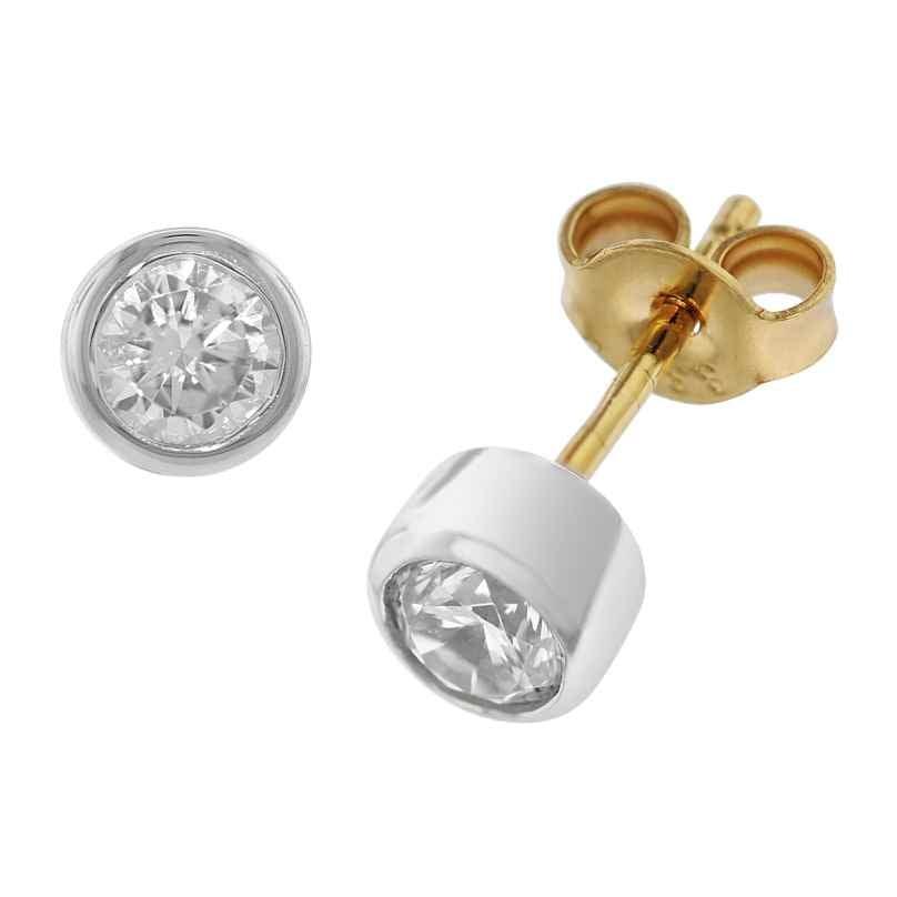 trendor 51849 Ohrringe mit Zirkonia Gold 333 Bicolor Ohrstecker 4260435351849