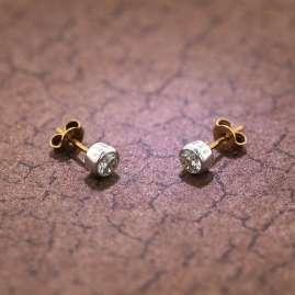 trendor 51849 Stud Earrings Gold 333 / 8 K Cubic Zirconias Two-Tone
