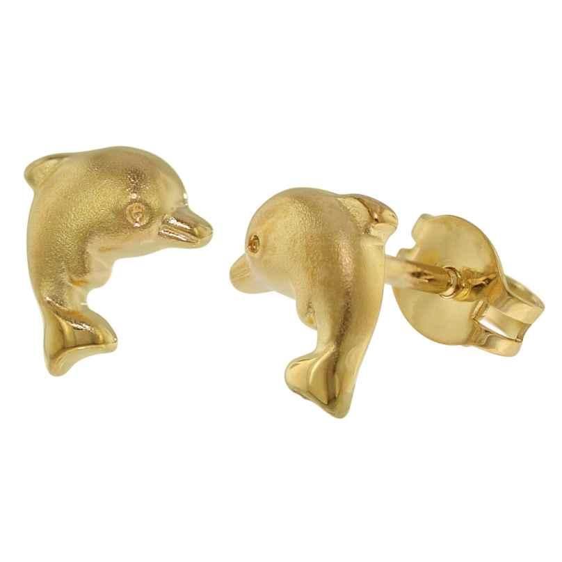 trendor 35769 Kinder-Ohrringe Delfin Gold 333 / 8 Karat Ohrstecker für Mädchen 4260435357698