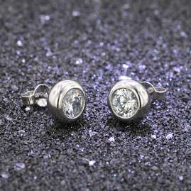 trendor 35822 Silver Stud Earrings with Cubic Zirconia