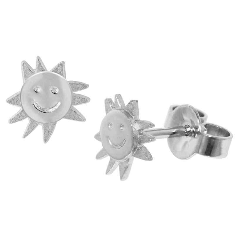 trendor 35863 Silber Kinder-Ohrringe Lachende Sonne 4260435358633