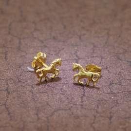 trendor 35809 Kinder-Ohrringe Pferd Gold 333