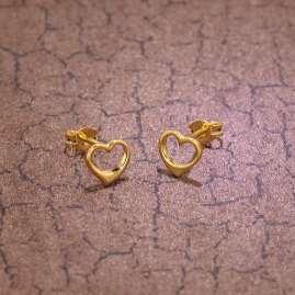 trendor 35815 Gold Earrings Open Heart