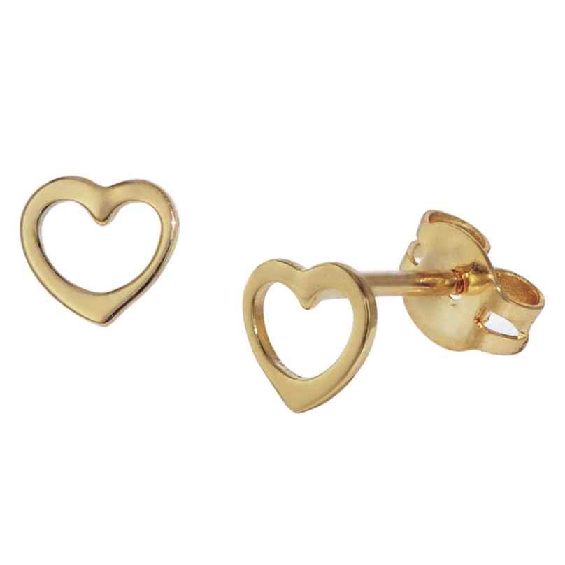 trendor 35818 Kids Stud Earrings for Girls Gold 333 Open Heart 4260435358183
