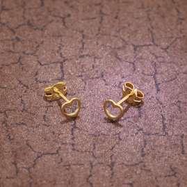 trendor 35818 Kids Stud Earrings for Girls Gold 333 Open Heart