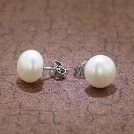 trendor 08362 Silber Perl-Ohrringe mit Süßwasserperle Weiß