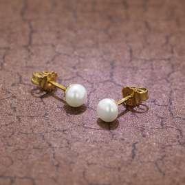 trendor 08363 Gold Perl-Ohrringe Süßwasser-Zuchtperlen Weiß