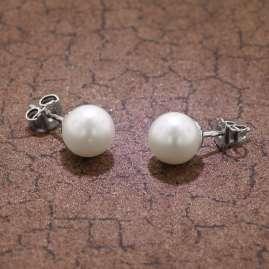 trendor 08373 Silver Ladies Earrings Cultured Freshwater Pearls White
