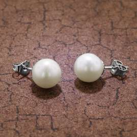 trendor 08374 Silver Pearl Earrings Cultured Freshwater Pearls White