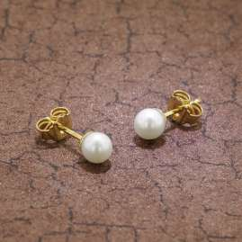 trendor 08375 Gold Stud Earrings Cultured Freshwater Pearls White